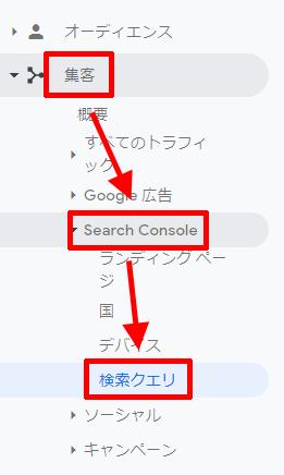 Googleアナリティクスの検索クエリを開く