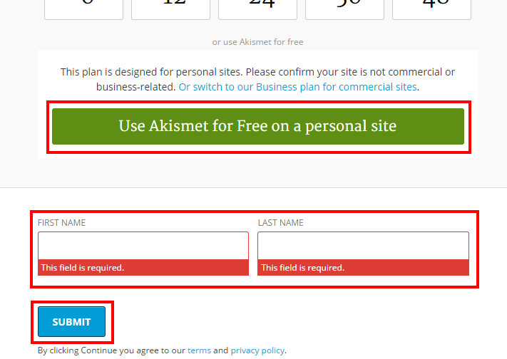 Akismet WordPress プラグイン 無料設定 有料 不要 使い方 use Akismet for free on a personal site