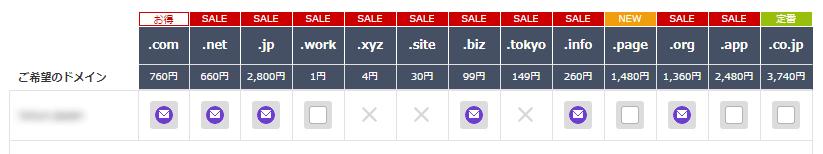 お名前comのドメイン検索結果