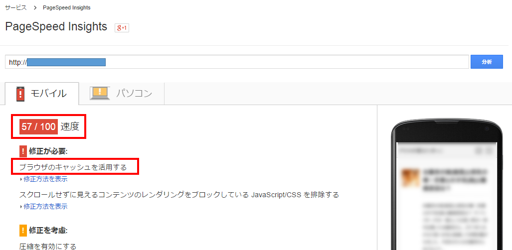PageSpeed Insightsの使い方 ブラウザのキャッシュを活用する