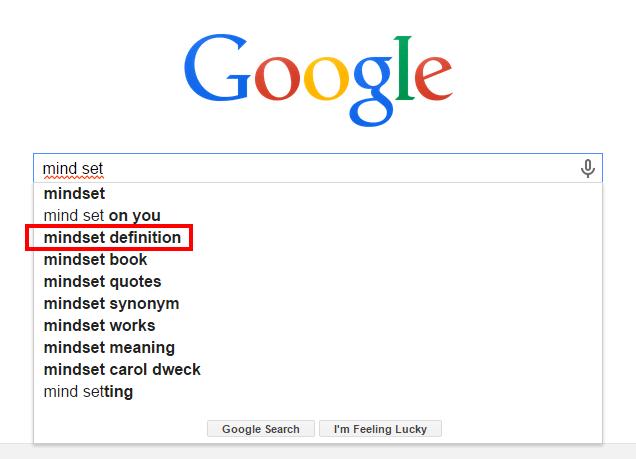 マインドセットの意味をアメリカgoolgeで検索mindset difinition