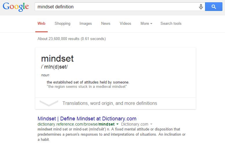 マインドセットの意味をアメリカgoolgeでmindset difinitionと検索した結果