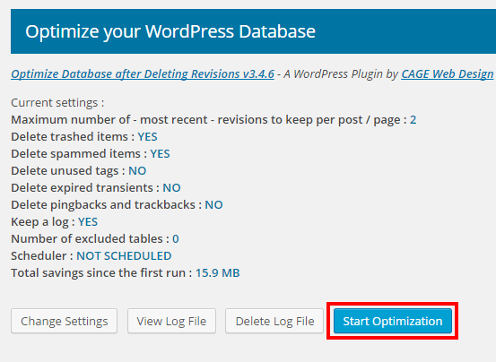 WordPressプラグインOptimize Database after Deleting Revisionsの最適化