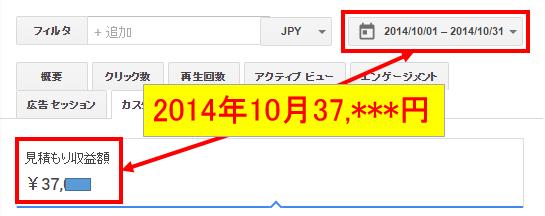 2014年10月のアドセンス収益