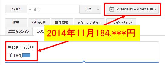 2014年11月のアドセンス収益
