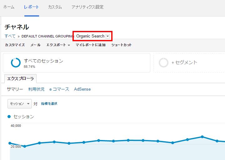 Googleアナリティクスの集客-すべてのトラフィック-チャネル-Organic Search