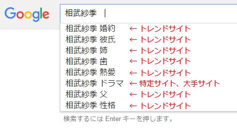 相武紗季のサジェストキーワード