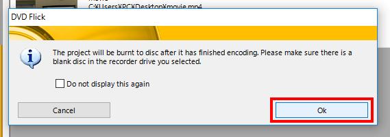 DVDディスクの挿入確認