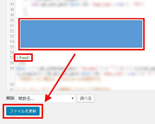 WordPressのコードの挿入