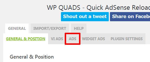 WP-QUADS-ADSをクリック
